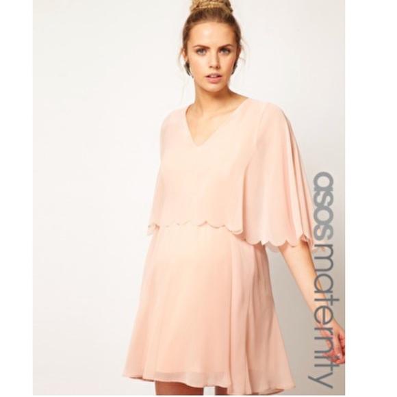 45b4ce6469984 ASOS Maternity Dresses   Pink Chiffon Scalloped Edge Dress   Poshmark